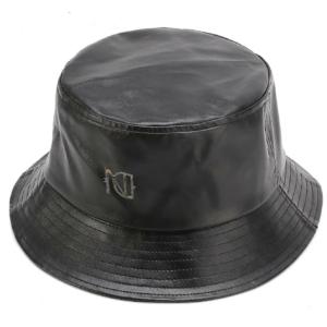 Faux Black Leather Bucket Hat
